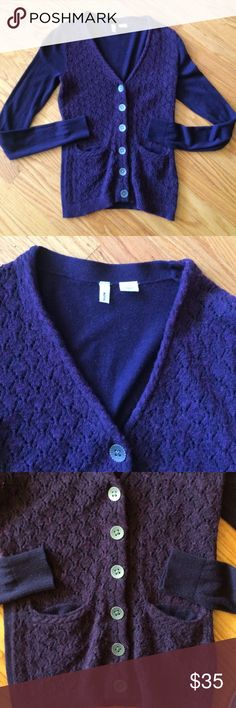 """💜Moth for Anthropologie; Eggplant Sweater Sz. XS! So """"Pretty in Purple!"""" Check out this adorable eggplant (purple) button-down sweater by Moth for Anthropologie. My IPhone doesn't capture the true color as described. Misses Size XS. Six unique buttons are in the front of the V-Neck Style Sweater along with two front pockets. A variegated look in front, while sleeves and back are solid. Such a darling sweater! Length: 23 inches. Bust: 32-33 inches. Sleeve length: 25 inches. Goes great with…"""