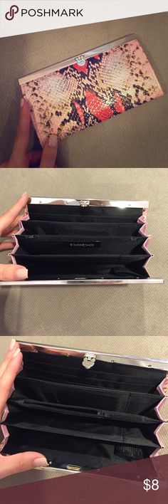Bebe Snake Skin Clutch Bebe Snake Skin Clutch - small clutch great for going out lightly used bebe Bags Clutches & Wristlets
