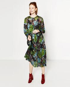 フローラルミディデヴォレ加工ドレス-ドレス ワンピース-レディ-ス | ZARA 日本