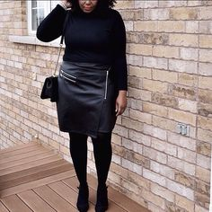 Faux leather skirt for the win. It goes up to size US24. All the info on the link in the bio. #plussize #psblogger #allblackeverything  @liketoknow.it www.liketk.it/29zaE #liketkit