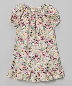 Lele Vintage Pink & Khaki Floral Shirred Dress - Girls by Lele Vintage #zulily #zulilyfinds