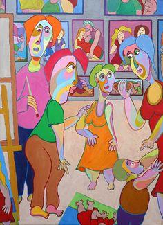 Schilderij Atelierbezoek van Twan de Vos, geïnspireerd op las Meninas van Velazquez