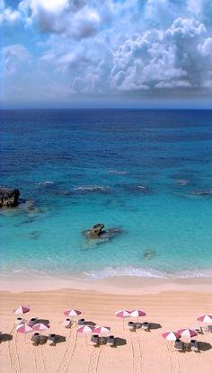 Pink Umbrellas, Pink Sand. Bermuda