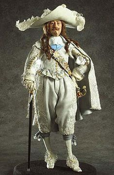 Luis XIII of France Doll: Photo courtesy of the Gallery of Historical figures 17th Century Clothing, 17th Century Fashion, 18th Century, Historical Costume, Historical Clothing, Historical Dress, Dollhouse Dolls, Miniature Dolls, Marie Antoinette