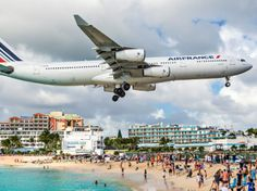 Maho Beach is a beach on the Dutch side of the Caribbean island of Saint Martin, in the territory of Sint Maarten. It is famous for the Princess Juliana International Airport adjacent to the beach. Auckland, Puerto Rico, Famous Saints, Red Sand Beach, San Martin, Jet Engine, By Train, Free Things To Do, International Airport