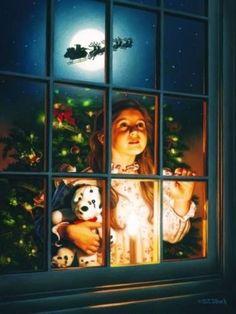 A Visit from Saint Nicholas ('Twas the night before Christmas) Christmas Kiss, Christmas Scenes, Christmas Pictures, Winter Christmas, Father Christmas, Prim Christmas, Blue Christmas, Illustration Noel, Christmas Illustration