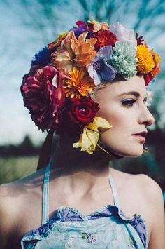 From Fumbalinas AW13 collection - flower headpiece, flower bonnet, floral bonnet, flowerhead, flower helmet,
