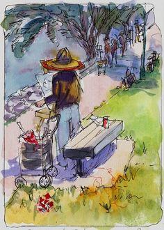 Ink And Watercolor Paintings | Sylvia Painting at Berkeley Marina, Ink & watercolor