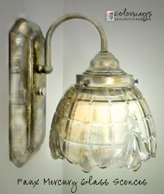Colorways with Leslie Stocker » DIY Faux Mercury Glass Sconce DIY, Step by Step today on Colorways