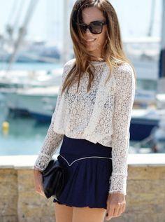 Lace shirt + mini