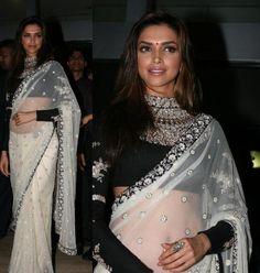 Deepika wearing Sabyasachi sari