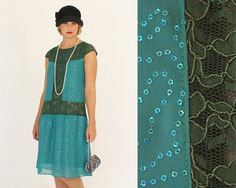 Sequined flapper dress in dark turquoise by HouseOfRecollections, $145.00