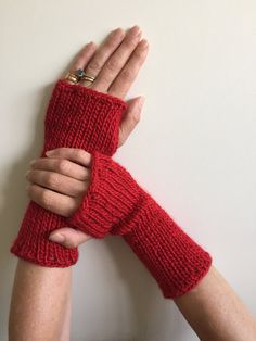 Fingerless Gloves Red with Sequins Hand Warmers Arm by SimonKnits