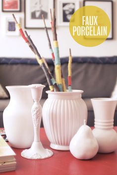 "DIY - Faux ""Porcelain-Look"" Objects Tutorial. Paint Used: Rust-Oleum Painter's Touch Ultra Cover 2x: http://www.rustoleum.com/CBGBrand.asp?bid=21"
