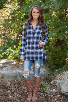 Nothing Like This Navy Plaid Blouse