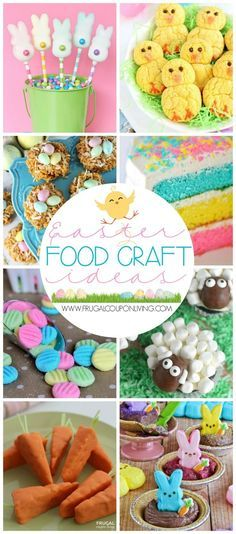 Easter Food Craft Ideas for the Kids including Chick Recipes, Sheep Cupcakes, Peeps Recipes and More. #easter #easterrecipes #recipes #foodcraft #kidsfoodcraft #easterideas #easterideasforkids #eastersnacks #easterdesserts