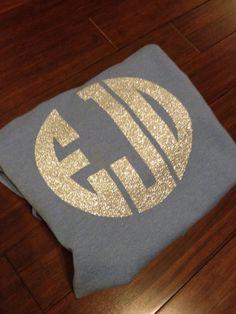 Glitter monogram sweatshirt by ShopSmashCakeCouture on Etsy, $28.00