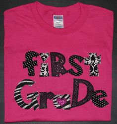 First Grade Appliqued Spirit Shirt by sewingsassyinTX on Etsy, $25.00
