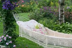 traditional landscape by Aiken House & Gardens This hammock would be great on the sleeping porch Outdoor Spaces, Outdoor Living, Outdoor Decor, Outdoor Photos, Outdoor Landscaping, Outdoor Fun, Landscaping Ideas, Dream Garden, Home And Garden