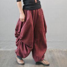 Red Ruffle Pants Long Linen Loose Trousers Unique Design Wide Leg Pants Elastic Waist Oversized PL016