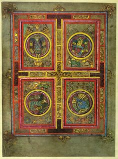 Folio 129 verso from the Book of Kells; the Four Evangelists.