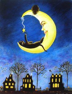 "black cat and crescent moon at night ""Salems Star"" Halloween Prints, Halloween Art, Imprimibles Halloween, Graffiti Kunst, Illustration Art, Illustrations, Moon Art, Moon Moon, Stars And Moon"