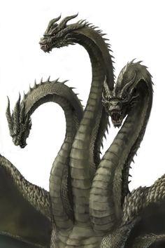 King Ghidorah by Ultra-Taf Mythological Creatures, Fantasy Creatures, Mythical Creatures, Godzilla Wallpaper, Fantasy Monster, Monster Art, King Kong, Godzilla Suit, Godzilla Tattoo