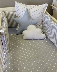 This bed set, including the grey and white polka dotted duvet, the crib bumper, the star and cloud plushie, as well as the white and grey polka dotted scatter pillow only from Studio Collection.  This gorgeous set is apart of the Grey and White Stars and Stripes collection, available from www.studiocollection.co.za.   Just click the link to see our wide range!