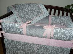 Light Baby Pink  Gray  Damask  Polka Dot  by CustomBabyCreations