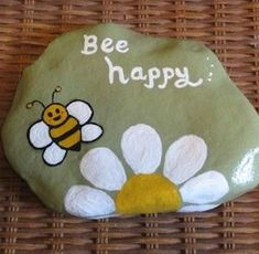 Get creative with these DIY painted rocks. From mandala rocks to easy painted rock crafts for kids, there are plenty of ideas for inspiration. Rock Painting Patterns, Rock Painting Ideas Easy, Rock Painting Designs, Paint Designs, Happy Rock, Bee Happy, Painted River Rocks, Painted Rocks Craft, Stone Crafts
