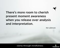 There's more room to cherish present moment awareness when you release over analysis and interpretation. Mindfulness Training, Cards Against Humanity, In This Moment, Room, Bedroom, Rooms, Rum, Peace