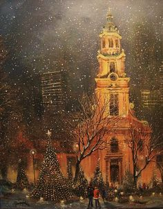 Snowfall In Cathedral Square - Milwaukee.  Tom Shropshire.  Christmas lights, holidays