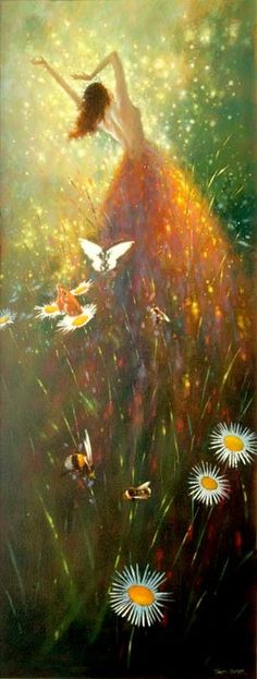 Hi all! I found this painting (The Godess Within by Iva Kenaz) and thought it'd make a good starter pin. Green, yellow orange, light brown & white  - butterflies, bees & daisies welcome!