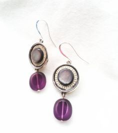 Purple and Blue Upcycled Watch Part Earrings by PalindromeCircus, $27.00