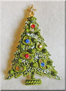 Signed ART Green Enamel Rhinestone Modernist CHRISTMAS TREE Vintage Brooch | eBay