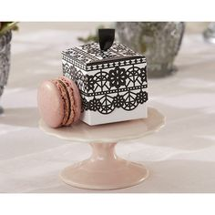 Romantic Garden Design Black Lace Print Favor Box (Set of 24) (£20) ❤ liked on Polyvore featuring home, home decor, small item storage and romantic home decor
