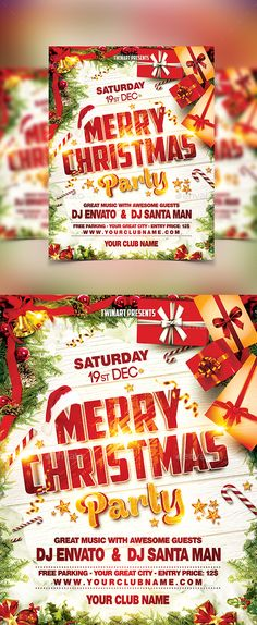 Christmas Party Flyer Template PSD #design #xmas Download: http://graphicriver.net/item/christmas-party-flyer/13470906?ref=ksioks