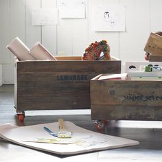 Rolling Storage Crates | Serena & Lily >> Love these!