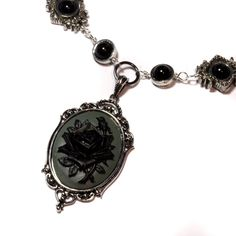 Steampunk Goth Jewelry - Necklace - Grey and Black Rose Cameo -  Black Onyx. $60.00, via Etsy.