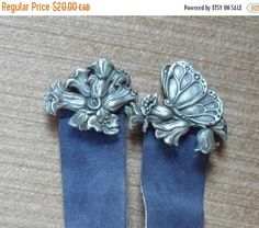 On Sale PEWTER and SUEDE BOOKMARK / Made in Nova by BYGONERA