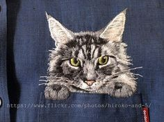 hand embroidered Siberian cat in the pocket on the von ShopGoGo5