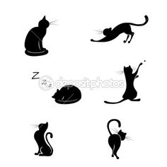 Black cat silhouette collections — Stock Vector #19556309