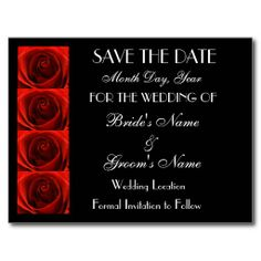 red black and white wedding saved the date | Classic 4 Red Roses Save the Date Wedding Postcard from Zazzle.com