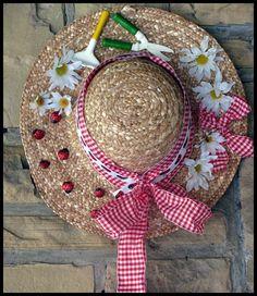 Garden hat decor with Pier 1 garden tool ornaments