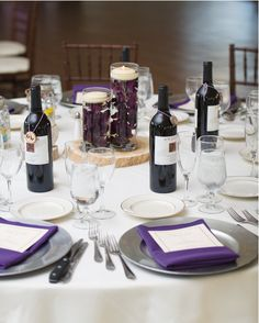 Purple Napkin, Silver Charger Plate #hudsonvalleyweddings