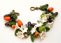 Vegetable jewelry - Colorful bracelet - Peppers - Eggplant - Handmade polymer bracelet