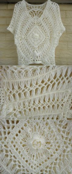 hairpin crochet women boho top lace blouse от Tinacrochetstudio | Вязание | Постила