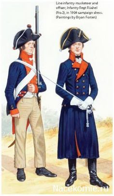 Prussia Line Inantry Regt Ruchel(No.2) Musketeer & Officer in campaign dress 1806.