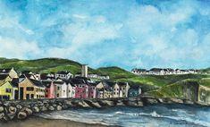 Seaside Village, Seaside Towns, Irish Art, Green Fields, Limited Edition Prints, Landscape Paintings, Ireland, Surfing, Original Paintings