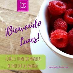 ¡Bienvenido lunes!  ¿Cuál es tu mejor manera de iniciar la semana? Raspberry, Fruit, Food, Mondays, Get Well Soon, Women, Eten, Raspberries, Meals